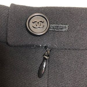CHANEL Skirts - Chanel Black Wool Skirt Silk Lining Logo Button